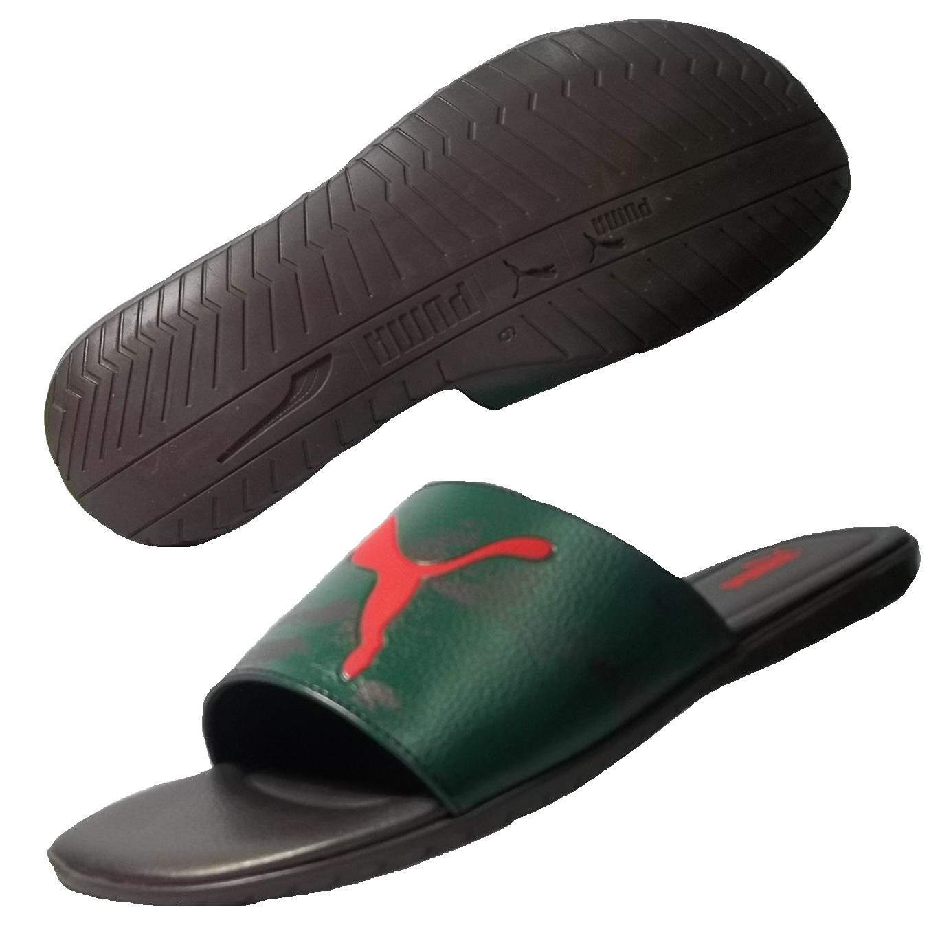 puma slide Keep your feet comfy before and after practice or the big game with the puma popcat sports slides designed with synthetic leather straps, these comfy slides provide traction, thanks to the rugged injected eva outsoles, and display a puma wordmark and cat logo on the straps for a spirited, sporty look.